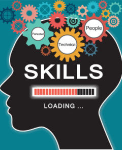 Loading skills concept with human head and gear